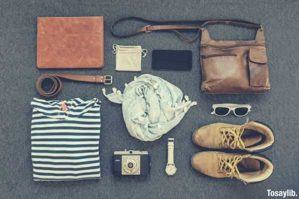 high angle view of shoes and other stuffs
