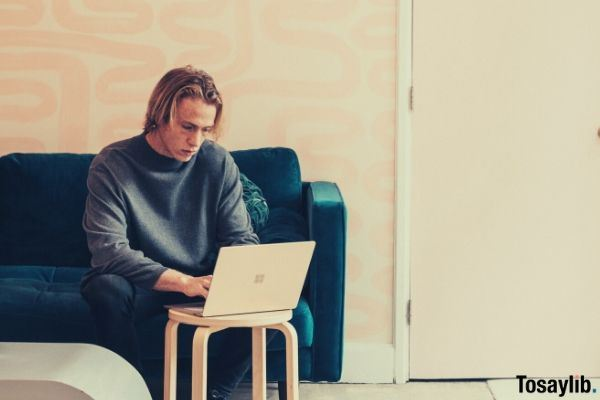 man sitting on the blue green sofa while using laptop on the chair