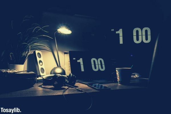 black digital alarm clock led light desk