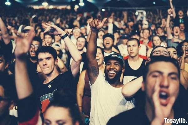 crowd people cheering