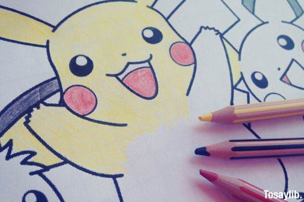 pokemon pikachu drawing colored pencils