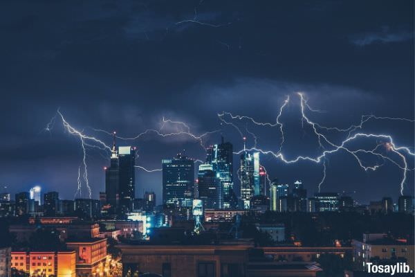 city photography during night time thunder