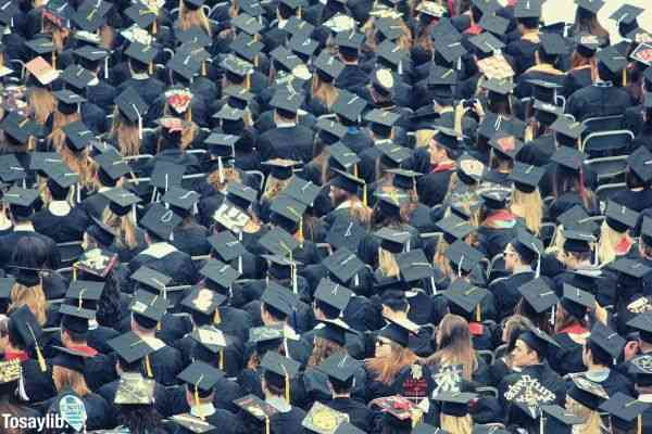 aerial view of graduates wearing hats