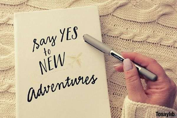 say yes to new adventures notebook pen