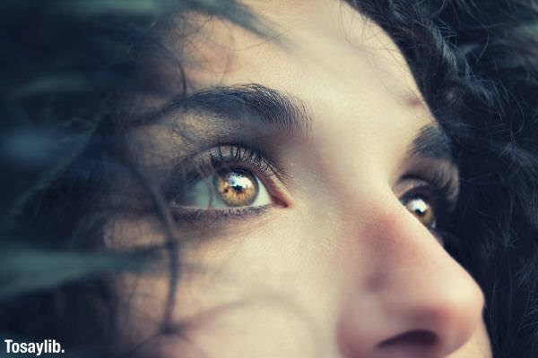 close up photo of a woman s eyes and face brown eyes