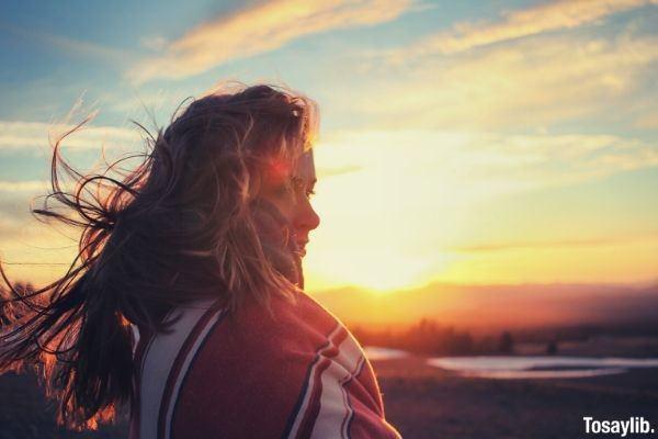 reflection sunset health thinking wellness inspirational golden hour woman hair