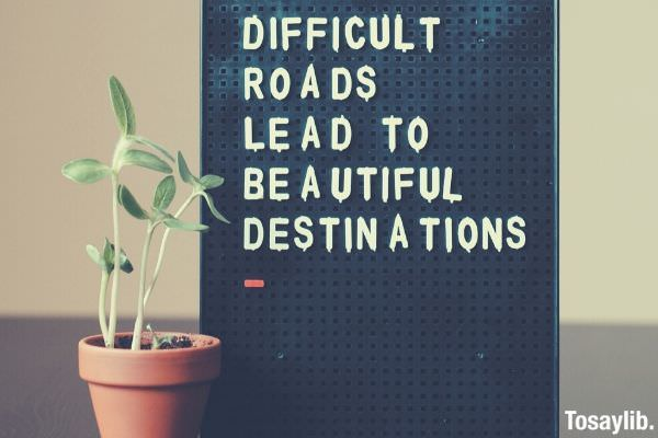 Difficult roads lead to beautiful destinations board black plant on the side table top