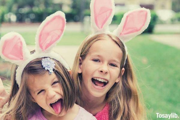 two girls easter basket bunny band