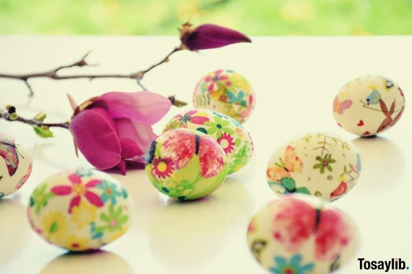 pink rose and easter floral decorated eggs