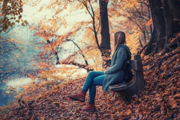 photo-of-woman-sitting-on-wooden-bench-looking-at-the-body-of-water-trees