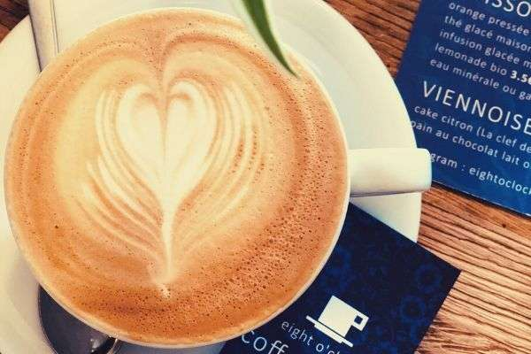 top-view-photo-of-a-latte-leaf-eight-o-clock-coffee-shop