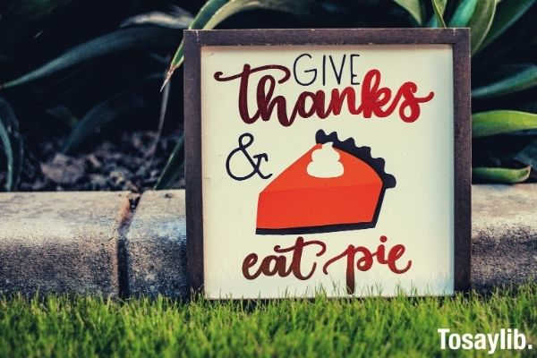 give thanks and eat pie signage grass