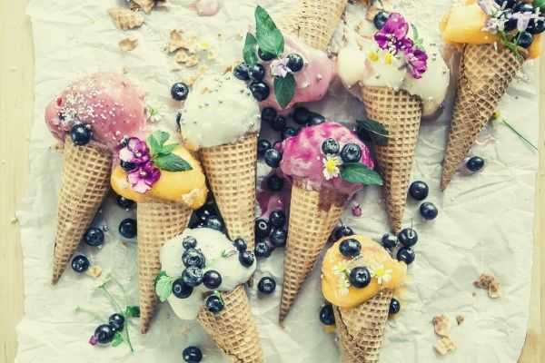 words-to-describe-ice-cream-flatlay-photo-of-melted-ice-cream-with-blueberries