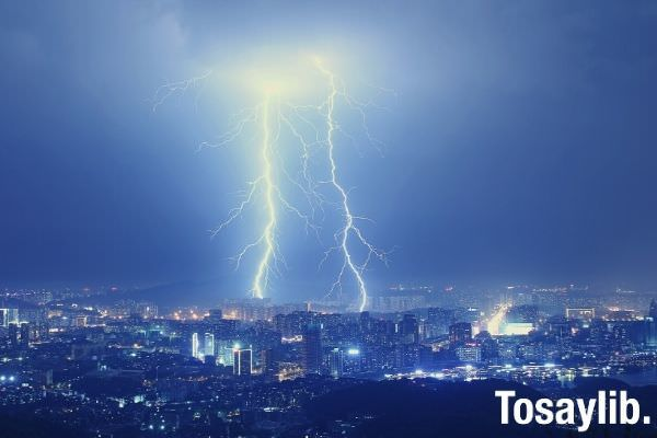 cityscape with thunderstorm lightning over skycrapers night dark sky