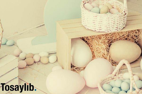 different colors of eggs basket wooden box hays wooden rabbit