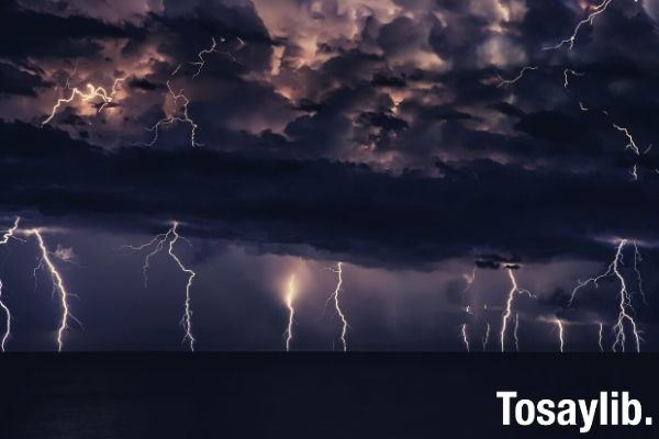 Thunderstorm lightning with dark clouds reflection