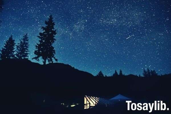 silhouette photo of mountain and trees under starry night sky