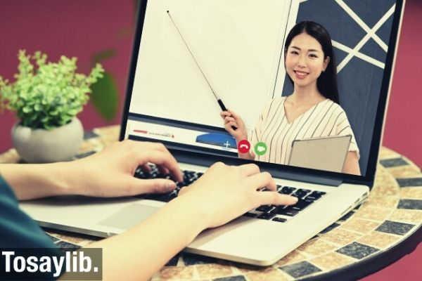 online course teacher teaching laptop hand