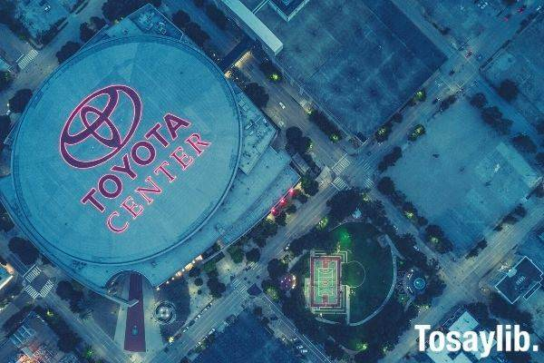aerial photo of toyota center basketball court