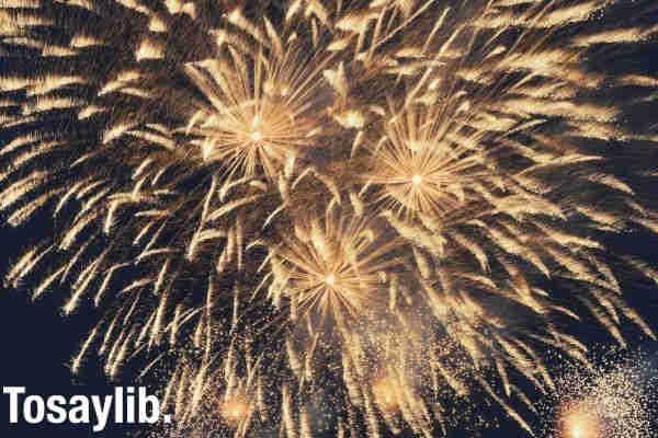 golden fireworks on the sky