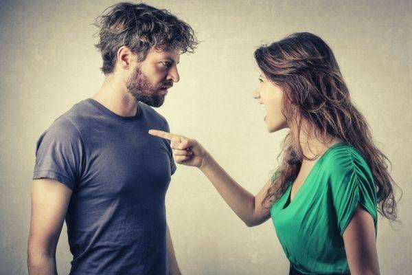woman pointing at the man s chest argue couple fighting