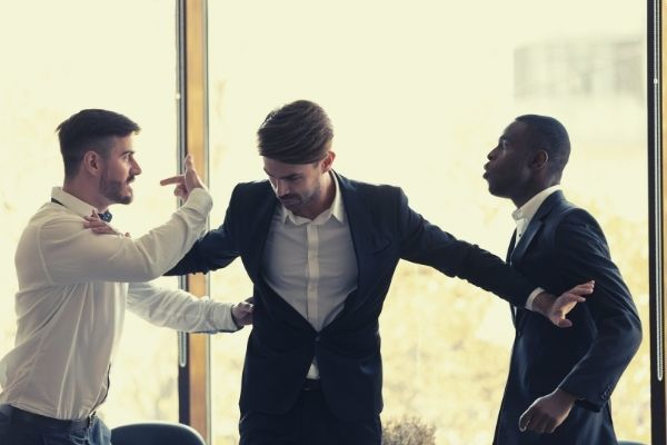 male colleague set apart angry diverse