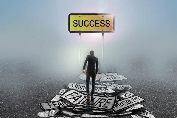 businessman walking mist on problems goalsuccess