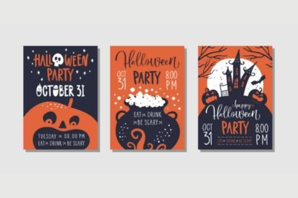 04 vector set halloween party invitations greeting