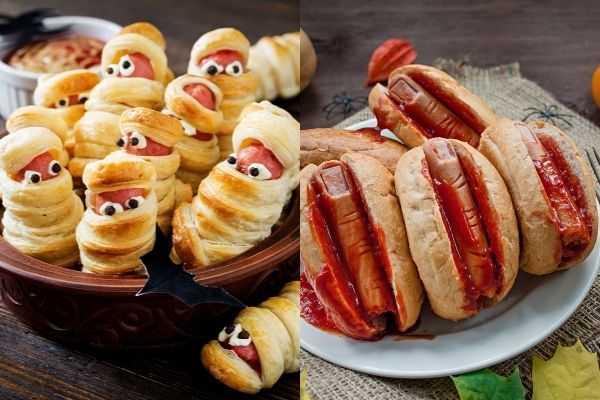 08 scary sausage mummies dough funny eyes