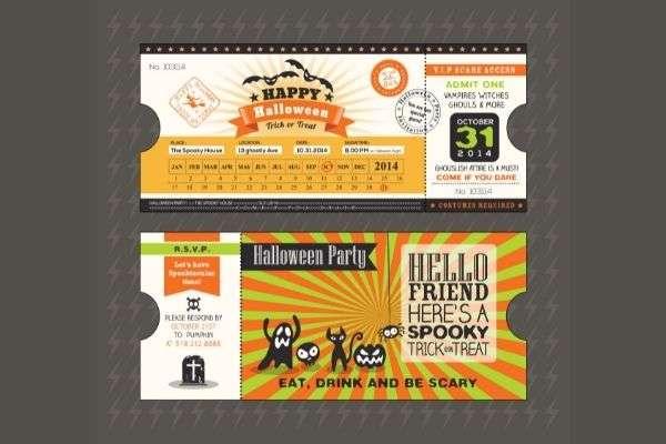 halloween card train ticket pass style