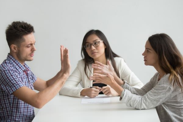01 unhappy married couple get divorced arguing in front of another woman