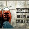 instagram-caption-for-life-red-sneaker-stannding-big-journeys-begin-with-small-steps